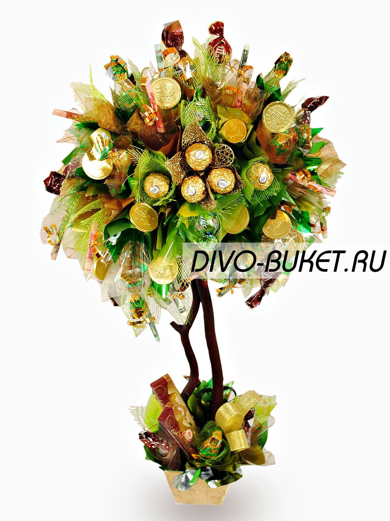 Денежное дерево из конфет своими руками мастер класс 12
