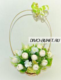 """Букет из сладких тюльпанов в корзиночке №651 """"Альпийская свежесть"""""""